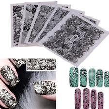 24 Sheets Sexy Black DIY Nail Art Water Transfer Printing Stickers Lace Decor JT