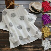 Women Summer Short Sleeve Casual Loose Baggy Tunic Top T Shirt Blouse Plus Size