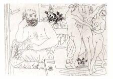 PABLO PICASSO-Escultor y grupo escultórico de tres bailarina  -28x22 cm-1956-COA
