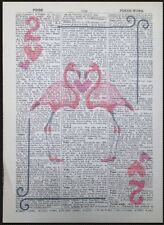 Vintage Pink Flamingo Playing Card Two Hearts Dictionary Page Print Wall Art