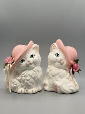 Pair - Vintage Ceramic White Persian Kitten Cat Figurines in Pink Hats