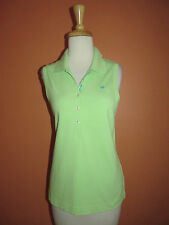 Lilly Pulitzer Size L Lime Green Palm Tree Logo Sleeveless Mesh Polo Shirt