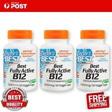 Doctor's Best Best Fully Active B12, 1500 mcg 60 Veggie Caps x 3 bottles