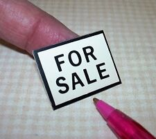 """Miniature """"FOR SALE"""" Sign, Black and White Plastic: DOLLHOUSE 1/12 Scale"""