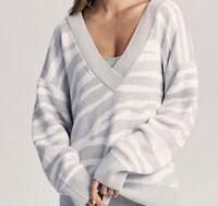 Anthropologie Varley Oversized Women's Sweater Medium Gray White Zebra  $178