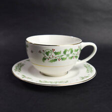 Everyday Gibson Holiday Charm Tea Cup Saucer Holly Berries Gold Trim Christmas