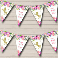 Floral Gold Unicorn Personalised Baby Shower Bunting Party Banner