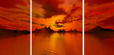 "Triple Set 20"" X 40""+ Super Orange Red Modern Canvas Pictures Wall Art Prints"