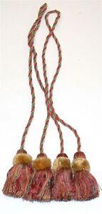 """(2) ADO Rope Curtain Tiebacks w/ Tassels ~ Rust Green Gold ~ 34"""" L **NEW**"""