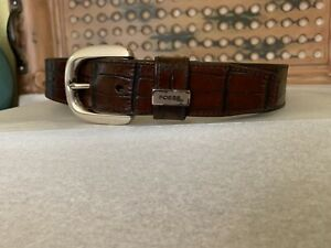 Fossil Vintage Brown Croc Embossed Leather Belt Silver Buckle Size Small