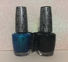 New O.P.I. Black & Turquoise/Aqua Shatter Nail Art Polish .5 Oz Nl E53 & E64