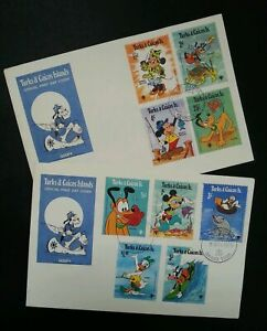 [SJ] Turks & Caicos Islands Walt Disney 1979 Mickey Cartoon Animation (FDC pair)