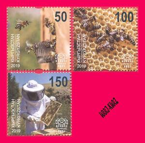 KYRGYZSTAN 2019 Nature Fauna Insects Bees Beekeeping 3v Mi KEP140-142 MNH