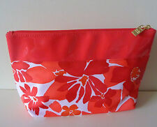 Elizabeth Arden Red Makeup Cosmetics Bag with flower pattern, Large Size, NEW