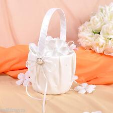 Ivory Satin Beading Flower Girl Baskets -GB24d