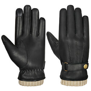 Mens Leather Gloves Thermal Lined Black Touch Screen Driving Winter Warm Gloves
