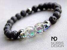 Men Lava/Hematite Double Skull Bracelet with Swarovski Crystal 7-8inch Healing