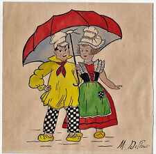 Ancien dessin Couple d'enfant Illustration enfantine Crayon et aquarelle