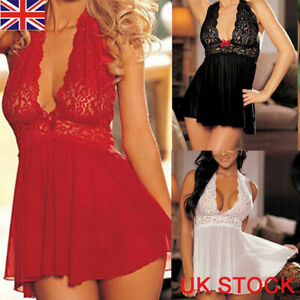 UK Sexy Ladies Lingerie Sleepwear Women Babydoll Robe Underwear Night Dress