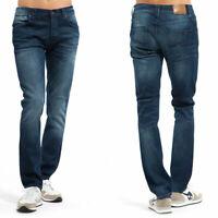 B-Ware Neu Nudie Herren Slim Fit Jeans Hose - Grim Tim Navy Twill W30 L32
