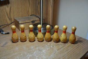 8 WOOD MINI BOWLING PIN AWARD TROPHY'S 1979 - 80'S AVERAGE AWARDS MIXED COUPLES