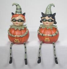 Boy & Girl Pumpkin Trick or Treat Shelf Sitters Fall Halloween Tabletop Set of 2