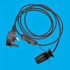 E27 ES Black UK Plug Light Bulb Holder Inline Switch Salt Desk Table Lamps