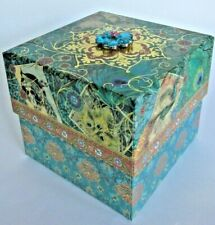 PUNCH STUDIO JEWELED PEACOCK SQUARE KEEPSAKE GIFT BOX~ GORGEOUS~NEW~F. SHIPPING