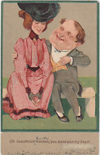 "Signed PFB,""Oh Beauteous Maiden,You Have Won My Heart"",Funny Couple,Used,1907"