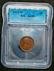 1923-S  Lincoln Cent  ICG AU50