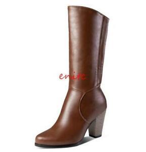 Elegent Womens High Boots Block Heels Side Zipper Knight Boots Velvet Linling En