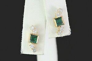 $1,750 14K Yellow Gold Princess Cut Green Emerald Round Diamond Screw Earrings