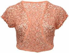 Womens New Sequin Lace Bolero Coral Orange Shrug Top Open Front Shoulder Cover