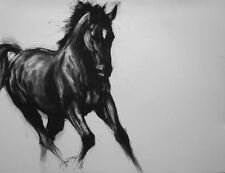 'Black I' horse equine LE charcoal art print mounted ready to frame by H Irvine