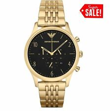 NEW EMPORIO ARMANI AR1893 BETA GOLD BLACK DIAL CHRONOGRAPH MENS WATCH UK
