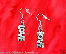 SILVER LOVE WORD HEART CHARM DANGLE EARRINGS~MOTHERS DAY GIFT~STERLING HOOK