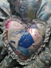 Heart Shaped Patchwork Calico Lace Trim Embellished Pillow spider and web