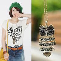 Fashion Owl Women Bronze Vintage Style Long Chain Necklace Pendant Jewelry