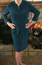 Women's Dark Aqua Long  Sleeve Dress Size 14 (Fits a 12 Nicely)  Formal Holiday