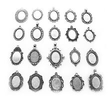 20 DIFFERENT Antiqued Silvertone 25mm x 18mm CAMEO PENDANTS Frames Settings Lot