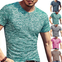 Men's Short Sleeve Muscle T Shirt Casual Slim Fit Gym Fitted T-shirt Tee Tops US