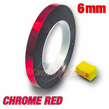 "6mm 1/4"" Pinstriping Tape PIN STRIPE Decal Vinyl Sticker METALLIC CHROME RED"