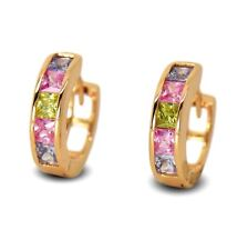 18ct Gold Filled Womens Small Hoop Earrings with Multi Colour CZ Crystals 18K