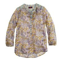 J. Crew 8 Popover Shirt in Liberty Mixed Floral Print Blouse Cotton Silk