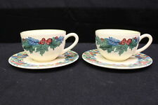 NM 4 Pc CERAMIQUES ELCHINGER Red Floral w/Leaves Jumbo Cups & Saucers, France
