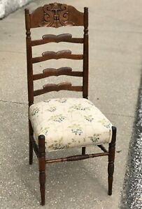"""Vintage 39"""" Carved Maple Wood Lion Face Ladder Back Blueberry Seat Dining Chair"""