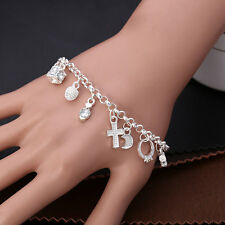 925 Silver Plated Wrist Top Band Crystal 13 Charms Jewelry Girl Bangle Bracelet