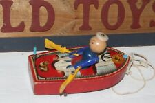 NICE VINTAGE 1952-53  FISHER PRICE #730  RACING ROWBOAT  WOODEN PULL TOY