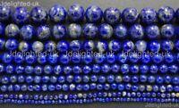 "Natural Lapis Lazuli Gemstone Round Beads 2mm 3mm 4mm 6mm 8mm 10mm 12mm 15.5"""