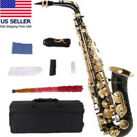 ammoon bE Alto Saxphone Brass Lacquered Gold E Flat Sax 82Z Key w/Case Exquisite